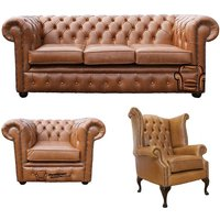Chesterfield 3 Seater Sofa + Club Chair + Queen Anne Chair Old English Tan Leather Sofa Offer - DESIGNER SOFAS 4 U
