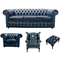 Chesterfield 3 Seater Sofa + Club Chair + Queen Anne Wing Chair + Footstool Leather Sofa Suite Offer Antique blue - DESIGNER SOFAS 4 U