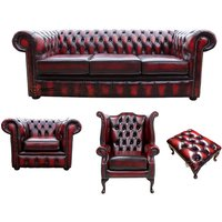 Chesterfield 3 Seater Sofa + Club Chair + Queen Anne Wing Chair + Footstool Leather Sofa Suite Offer Antique Oxblood