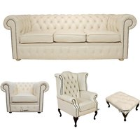 Chesterfield 3 Seater Sofa + Club Chair + Queen Anne Wing Chair + Footstool Leather Sofa Suite Offer Cottonseed Cream - DESIGNER SOFAS 4 U