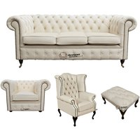 Chesterfield 3 Seater Sofa + Club Chair + Queen Anne Wing Chair + Footstool Leather Sofa Suite Offer Ivory - DESIGNER SOFAS 4 U