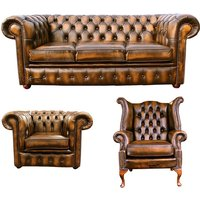 Designer Sofas 4 U - Chesterfield 3 Seater Sofa + Club Chair + Queen Anne Wing Chair Leather Sofa Suite Offer Antique Gold