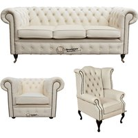 Designer Sofas 4 U - Chesterfield 3 Seater Sofa + Club Chair + Queen Anne Wing Chair Leather Sofa Suite Offer Ivory