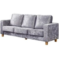 Chesterfield 3 Seater Sofa Crushed Velvet Silver - DESIGNER SOFAS 4 U