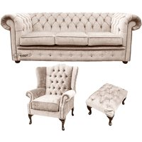 Designer Sofas 4 U - Chesterfield 3 Seater Sofa + Mallory Wing Chair + Footstool Harmony Ivory Velvet Sofa Suite Offer