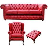 Chesterfield 3 Seater Sofa + Mallory Wing Chair + Footstool Old English Gamay Red Leather Sofa Offer - DESIGNER SOFAS 4 U