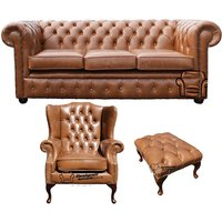 Chesterfield 3 Seater Sofa + Mallory Wing Chair + Footstool Old English Tan Leather Sofa Offer - DESIGNER SOFAS 4 U