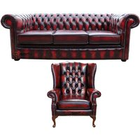 Chesterfield 3 Seater Sofa + Mallory Wing Chair Leather Sofa Suite Offer Antique Oxblood