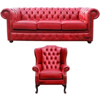 Designer Sofas 4 U - Chesterfield 3 Seater Sofa + Mallory Wing Chair Old English Gamay Red Leather Sofa Offer