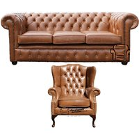 Chesterfield 3 Seater Sofa + Mallory Wing Chair Old English Tan Leather Sofa Offer - DESIGNER SOFAS 4 U