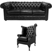 Designer Sofas 4 U - Chesterfield 3 Seater Sofa + Queen Anne Chair Old English Black Leather Sofa Offer