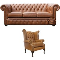 Designer Sofas 4 U - Chesterfield 3 Seater Sofa + Queen Anne Chair Old English Tan Leather Sofa Offer