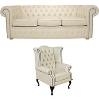 Chesterfield 3 Seater Sofa + Queen Anne Wing Chair Leather Sofa Suite Offer Cottonseed Cream