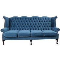 Designer Sofas 4 U - Chesterfield 4 Seater Queen Anne High Back Wing Sofa Chair Amalfi Cadet Velvet