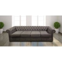 Chesterfield 4 Seater Settee Verity Plain Steel Fabric Sofa Offer