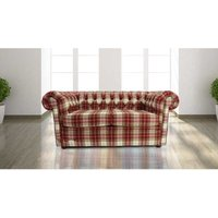 Chesterfield Arnold Wool 2 Seater Sofa Settee Fernie Red Tweed Check - DESIGNER SOFAS 4 U