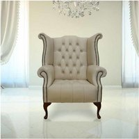 Designer Sofas 4 U - Chesterfield Buttoned Queen Anne High Back Wing Chair UK Manufactured Ivory