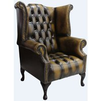 Chesterfield Buttoned Seat Queen Anne High Back Wing Chair Antique Gold Leather