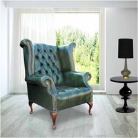 Chesterfield Buttoned Seat Queen Anne High Back Wing Chair UK Manufactured Antique Green - DESIGNER SOFAS 4 U
