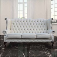 Designer Sofas 4 U - Chesterfield Chatsworth 3 Seater Queen Anne High Back Wing Chair UK Manufactured White