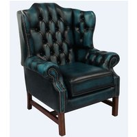 Chesterfield Churchill High Back Wing Chair Cushioned Seat Antique Blue Leather - DESIGNER SOFAS 4 U