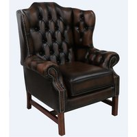 Chesterfield Churchill High Back Wing Chair Cushioned Seat Antique Brown Leather - DESIGNER SOFAS 4 U
