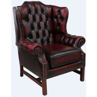 Chesterfield Churchill High Back Wing Chair Cushioned Seat Antique Oxblood