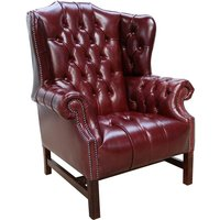 Chesterfield Churchill High Back Wing Chair UK Manufactured Newcastle Burgundy Leather
