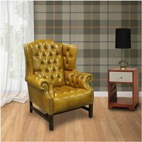 Chesterfield Churchill High Back Wing Chair UK Manufactured Newcastle Spice Leather