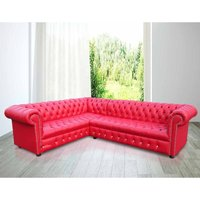 Chesterfield Corner Group Unit Sofa Crystal Diamante Buttoned Red Leather Sofa - DESIGNER SOFAS 4 U