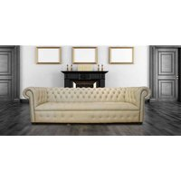 Chesterfield Crystal Diamond 4 Seater Leather Sofa Ivory Leather Offer - DESIGNER SOFAS 4 U