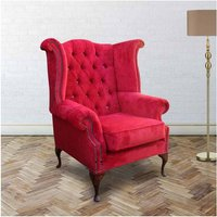 Chesterfield Crystal Queen Anne High Back Wing Chair Post