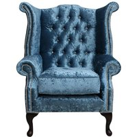 Designer Sofas 4 U - Chesterfield Crystal Queen Anne High Back Wing Chair Shimmer Aqua Velvet