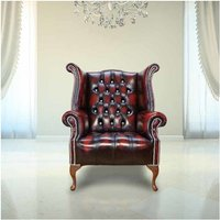 Designer Sofas 4 U - Chesterfield CRYSTALLIZED™ Elements Queen Anne High Back Wing Chair Oxblood Leather