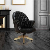 Designer Sofas 4 U - Chesterfield Directors Leather Office Chair Old English Black Silver Studding