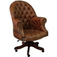 Chesterfield Directors Leather Office Chair Old English Tan Leather And Caramel Wool - DESIGNER SOFAS 4 U