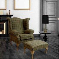 Designer Sofas 4 U - Chesterfield Edward Queen Anne Wool Tweed Althrop Topaz Wing Chair Fireside High Back Armchair + Footstool
