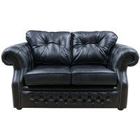 Chesterfield Era 2 Seater Sofa Old English Black Leather - DESIGNER SOFAS 4 U