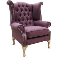 Chesterfield Fabric Queen Anne High Back Wing Chair Bacio Damson Purple
