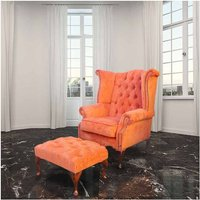 Designer Sofas 4 U - Chesterfield Fabric Queen Anne High Back Wing Chair + Matching Footstool Tangerine Orange