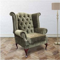 Chesterfield Fabric Queen Anne High Back Wing Chair Moss Green - DESIGNER SOFAS 4 U