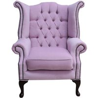 Designer Sofas 4 U - Chesterfield Fabric Queen Anne High Back Wing Chair Pimlico Blush Pink