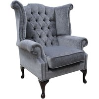 Chesterfield Fabric Queen Anne High Back Wing Chair Pimlico