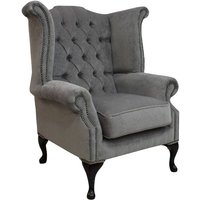Chesterfield Fabric Queen Anne High Back Wing Chair Pimlico Grey - DESIGNER SOFAS 4 U