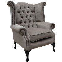 Chesterfield Fabric Queen Anne High Back Wing Chair Pimlico Mink