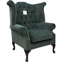 Designer Sofas 4 U - Chesterfield Fabric Queen Anne High Back Wing Chair Pimlico Ocean Green