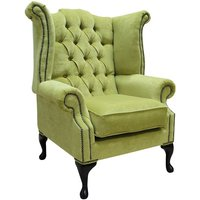 Chesterfield Fabric Queen Anne High Back Wing Chair Pimlico Zest Green