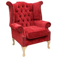 Designer Sofas 4 U - Chesterfield Fabric Queen Anne High Back Wing Chair Post Box