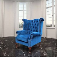 Chesterfield Fabric Queen Anne High Back Wing Chair Royal Blue