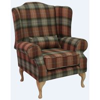 Designer Sofas 4 U - Chesterfield Frederick Wool Wing Chair Fireside High Back Armchair Chestnut Tree Check Tweed